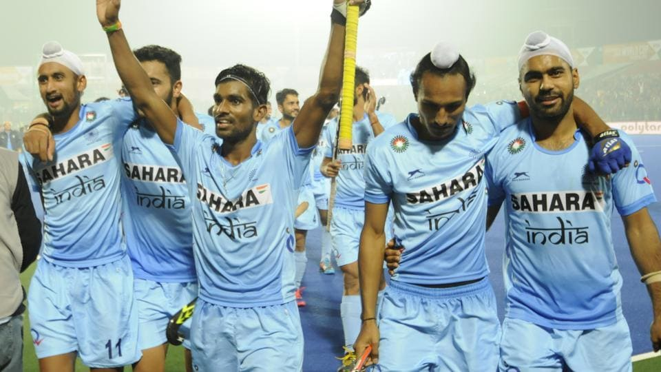 The India team celebrates after entering the final of the Junior Men's Hockey World Cup at Lucknow in December, a tournament it went on to win. India, with some players from that side, are looking to go all the way in the Azlan Shah Cup tournament in Ipoh.