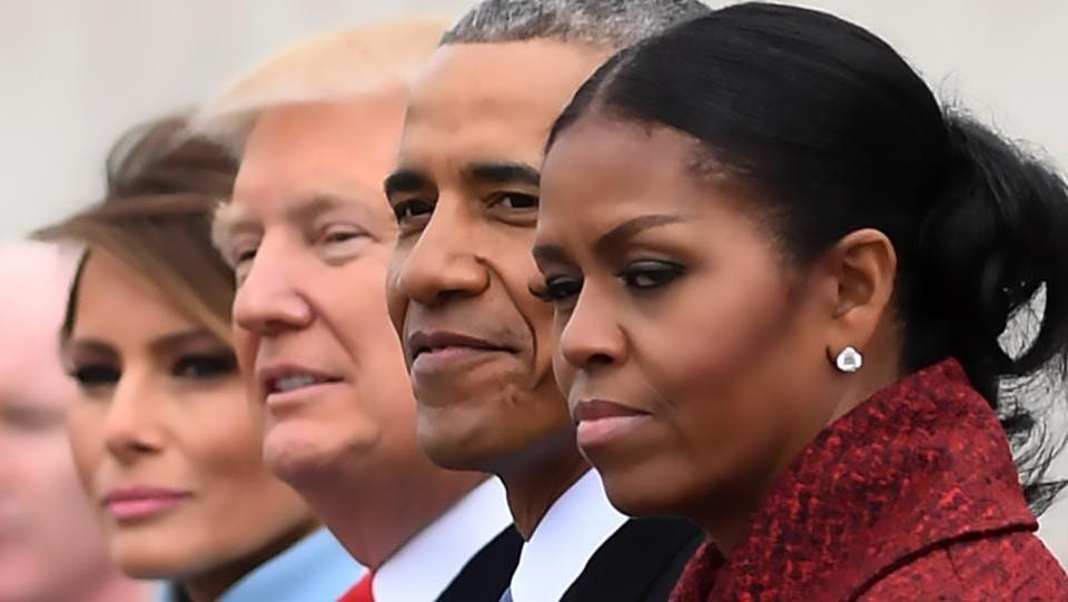 (FILES) L-R: First Lady Melania Trump, President Donald Trump,former President Barack Obama, Michelle Obama at the US Capitol after inauguration ceremonies at the in Washington, DC, on January 20, 2017.  (AFP)