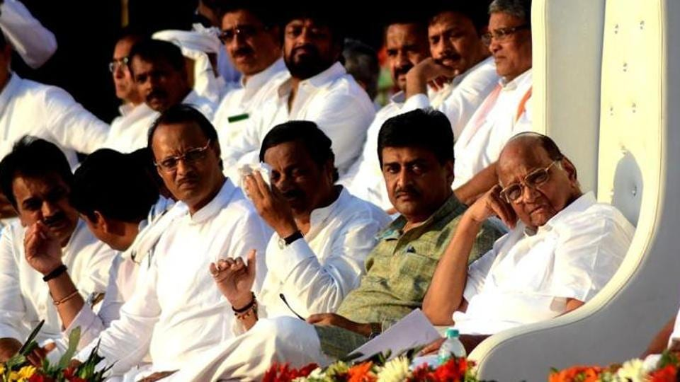 NCP and Congress leaders share dias during Sangharsh Yatra, which concluded last Thursday