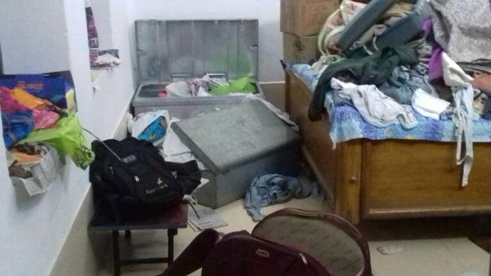 The ransacked house of Katihar chief judicial magistrate.