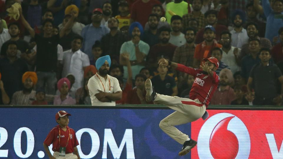 Manan Vohra of Kings XI Punjab prevents a six during an 2017 Indian Premier League match against Sunrisers Hyderabad at the Punjab Cricket Association Stadium in Mohali on Friday.