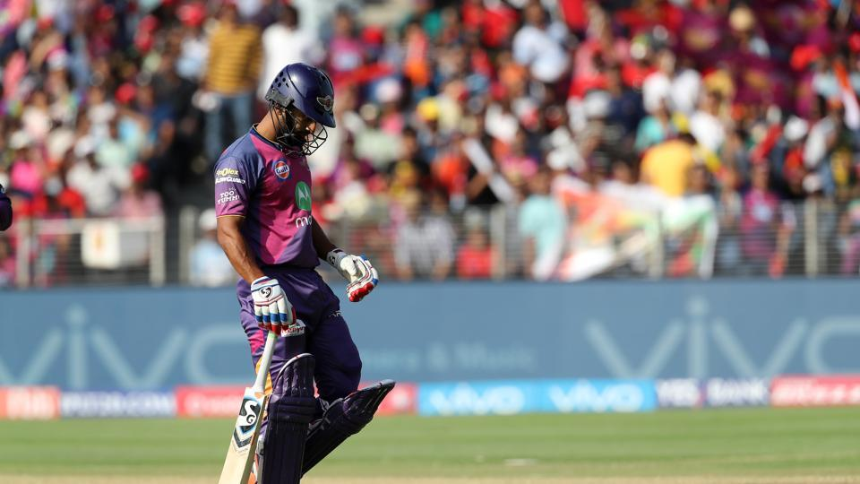Rahul Tripathi was snapped up by Pawan Negi for 37 as RPS stuttered. (BCCI)