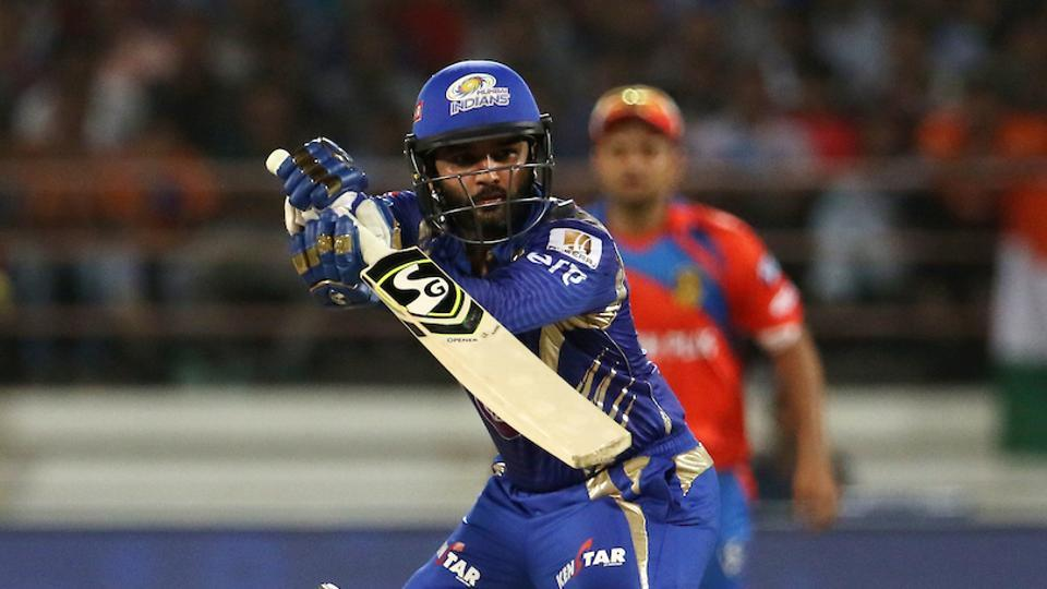 Parthiv Patel of Mumbai Indians plays a shot during match 35 of the 2017 Indian Premier League against Gujarat Lions at the Saurashtra Cricket Association Stadium in Rajkot.