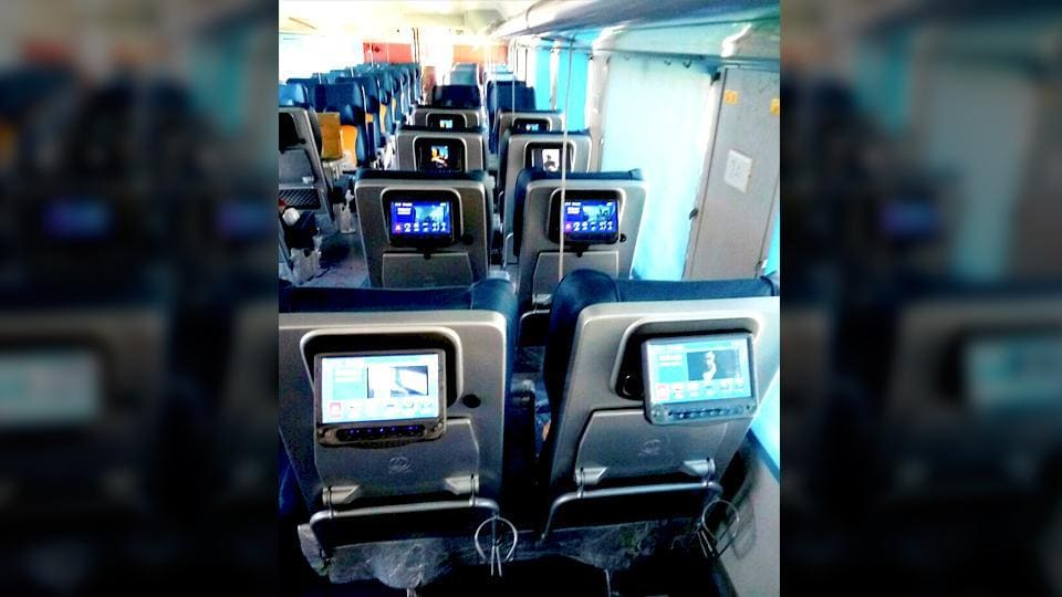 Seats of Tejas Express coaches is equipped with LCD screens.