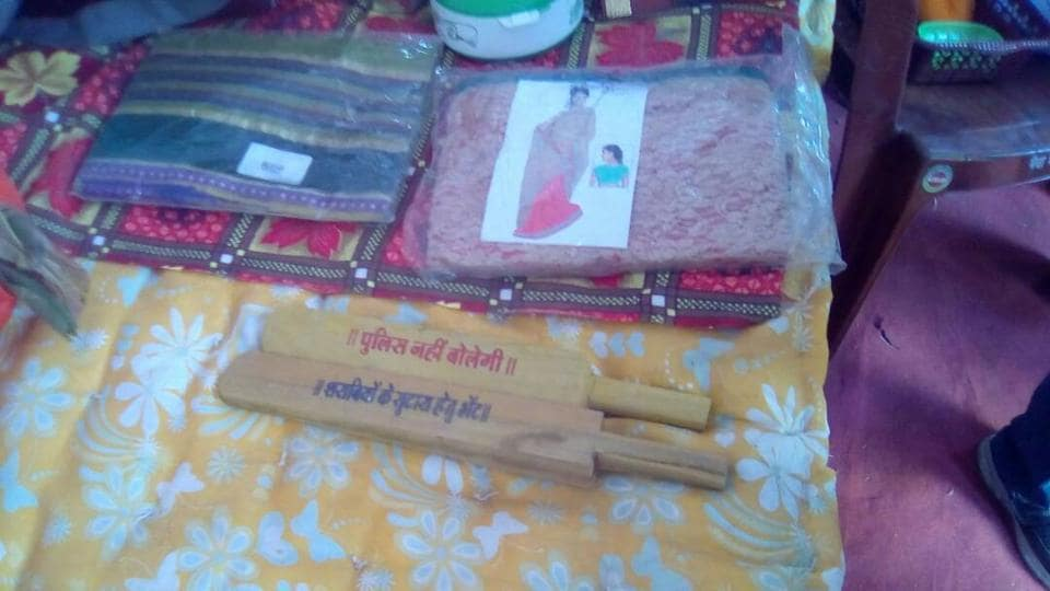 Gopal Bhargava presented some household items to the couples to help them set up home. The gift basket had a special present for the bride - a message scribbled washing bat.