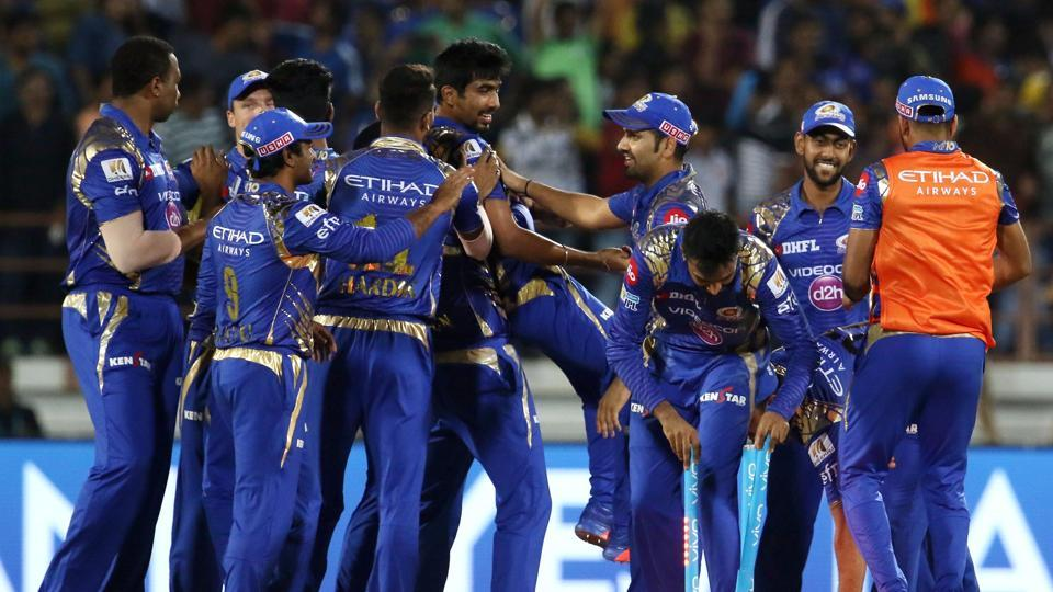 Jasprit Bumrah of Mumbai Indians celebrates with teammates after the win over Gujarat Lions during match 35 of the 2017 Indian Premier League at the Saurashtra Cricket Association Stadium in Rajkot.