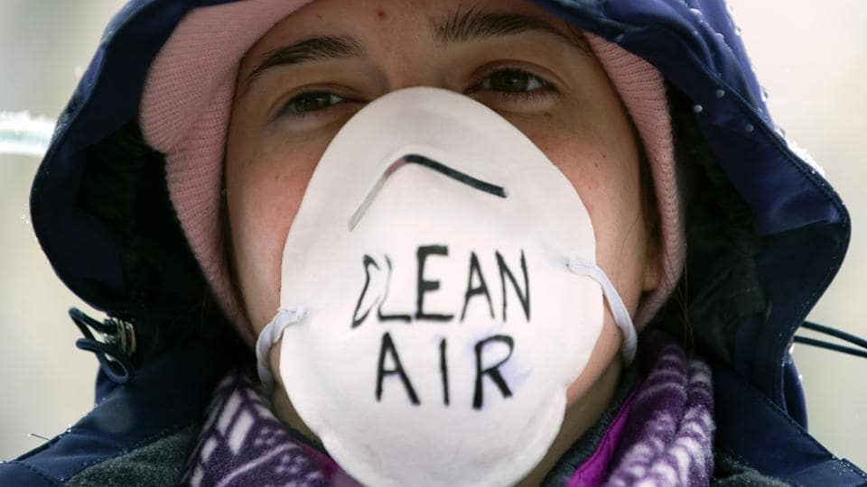 "A demonstrator wears a air filtering mask while participating in the People's Climate March. Dozens of ""sister"" marches are planned for other North America locales, from Annapolis Royal, Nova Scotia, to Dutch Harbor in Alaska's Aleutian Islands. (Jason Connolly/AFP)"