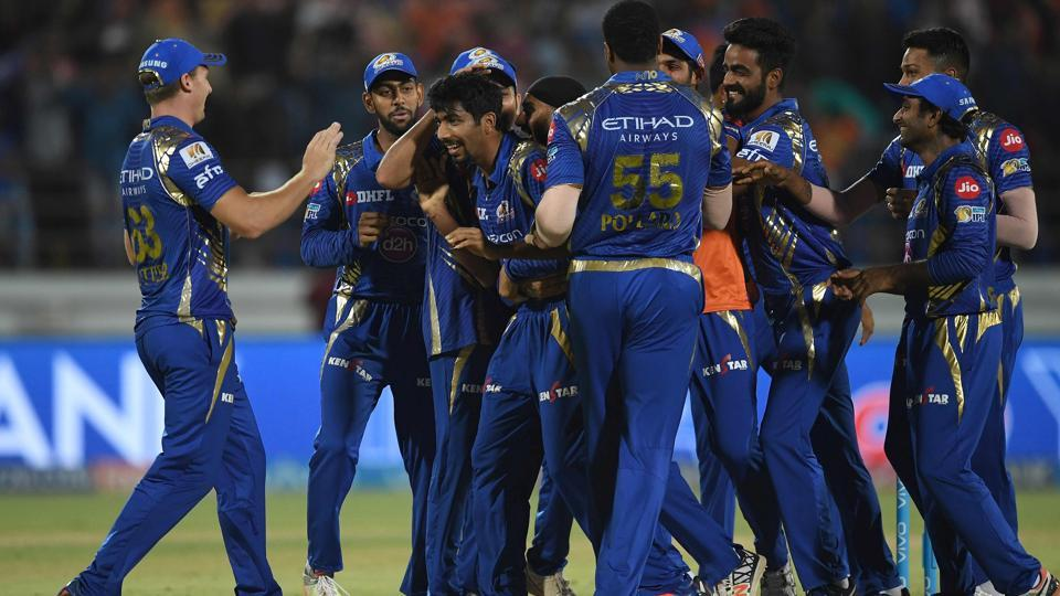 Mumbai Indians cricketers congratulates Jasprit Bumrah after their team defeated Gujarat Lions in a super over in the Indian Premier League (IPL) 2017 match.