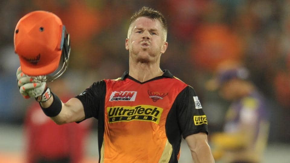 Sunrisers Hyderabad captain David Warner reacts after scoring a century against Kolkata Knight Riders in an Indian Premier League (IPL) 2017 match.