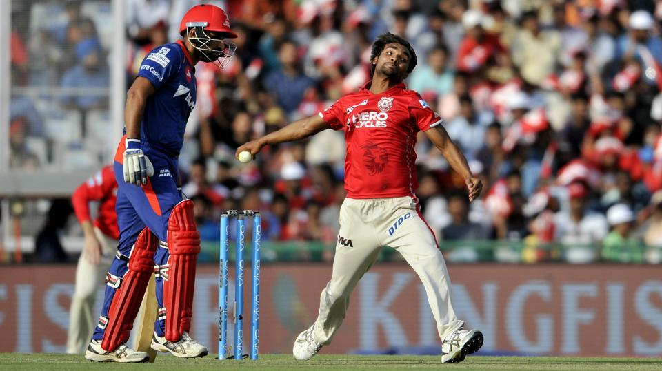 After opting to field, Kings XI Punjab were given a great start by Sandeep Sharma. He dismissed Sam Billings in the first over.  (Ravi Kumar/Hindustan Times)