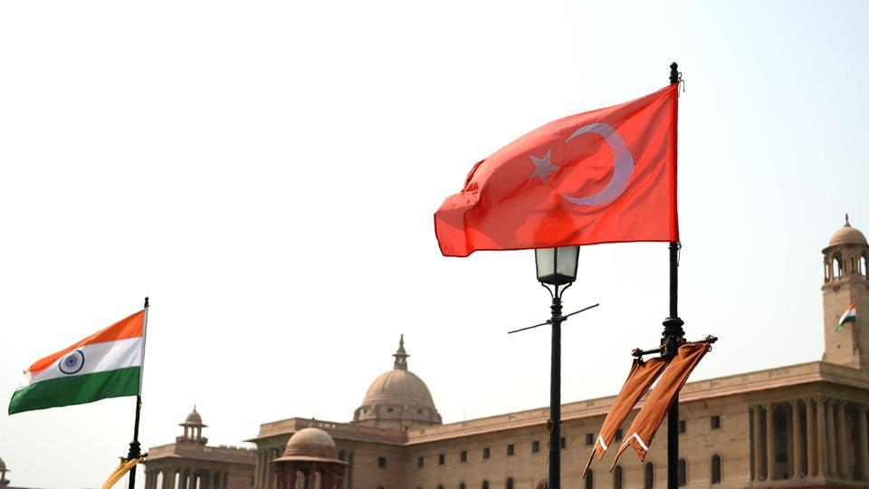 The national flags of India and Turkey fly on Rajpath ahead of an official visit by Turkish President Recep Tayyip Erdogan in New Delhi.