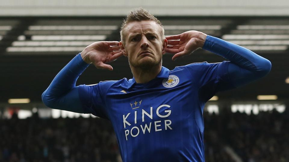 Leicester City FC's Jamie Vardy celebrates scoring against West Bromwich Albion in their Premier League match on Saturday.