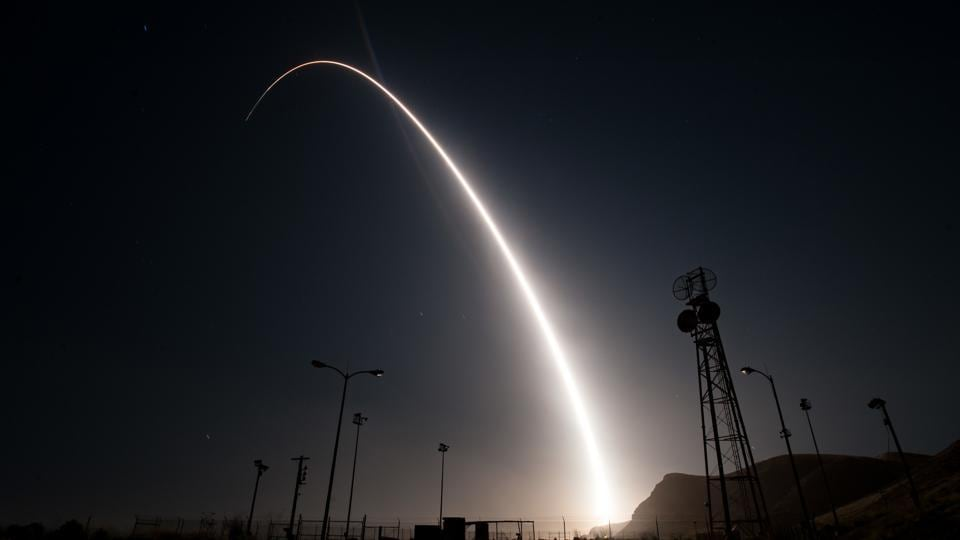 This US Air Force hand-out photo shows an unarmed Minuteman III intercontinental ballistic missile launches during an operational test at 12:03 a.m., PDT, on April 26,2017 from Vandenberg Air Force Base, California. The Minuteman system has been in service for 60 years. Through continuous upgrades, including new production versions, improved targeting systems, and enhanced accuracy, today's Minuteman system remains state-of-the art and is capable of meeting all modern challenges. (AFP)