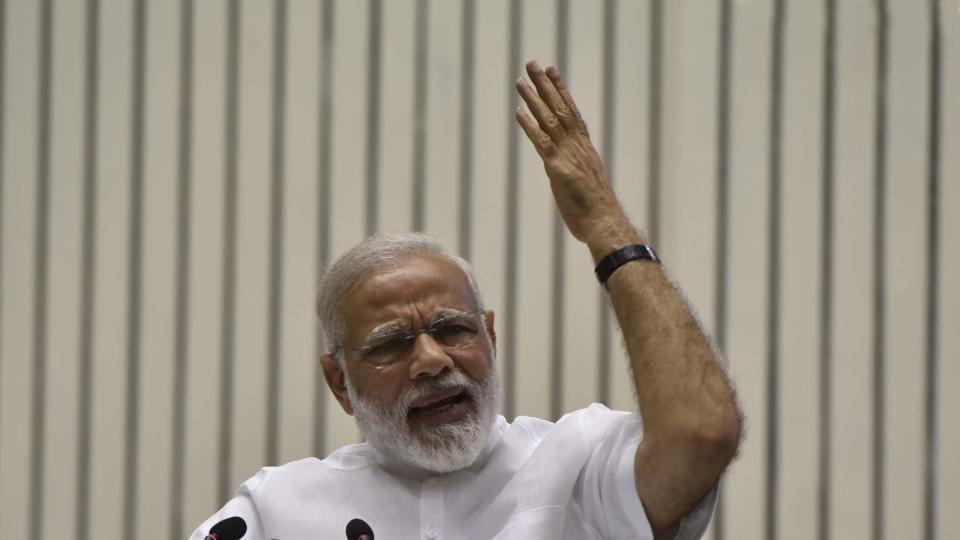 Prime Minister, Narendra Modi addressing the gathering on the occasion of Golden Jubilee in Delhi on April 29.