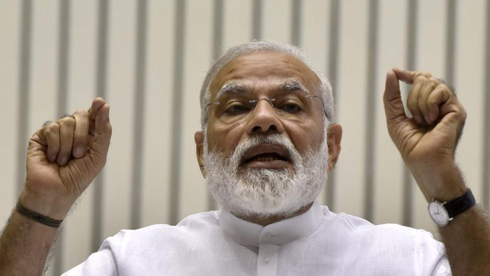 New Delhi, India - April 29, 2017: Prime Minister, Narendra Modi addressing the gathering on the occasion of Golden Jubilee in Delhi on April 29.
