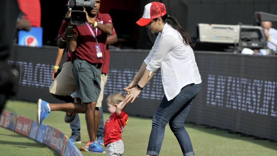Preity Zinta, Kings XI Punjab team co-owner, was elated and could be seen sharing some nice moments with Shaun Marsh's son. (Ravi Kumar/Hindustan Times)