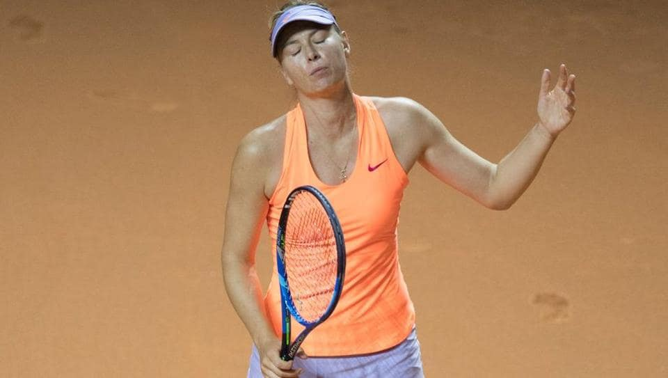 Russia's Maria Sharapova reacts during the semi-final match against France's Kristina Mladenovic at the WTA Tennis Grand Prix in Stuttgart.