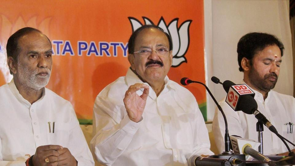 Union minister for Information & Broadcasting Venkaiah Naidu addressing media in Hyderabad on Sunday.
