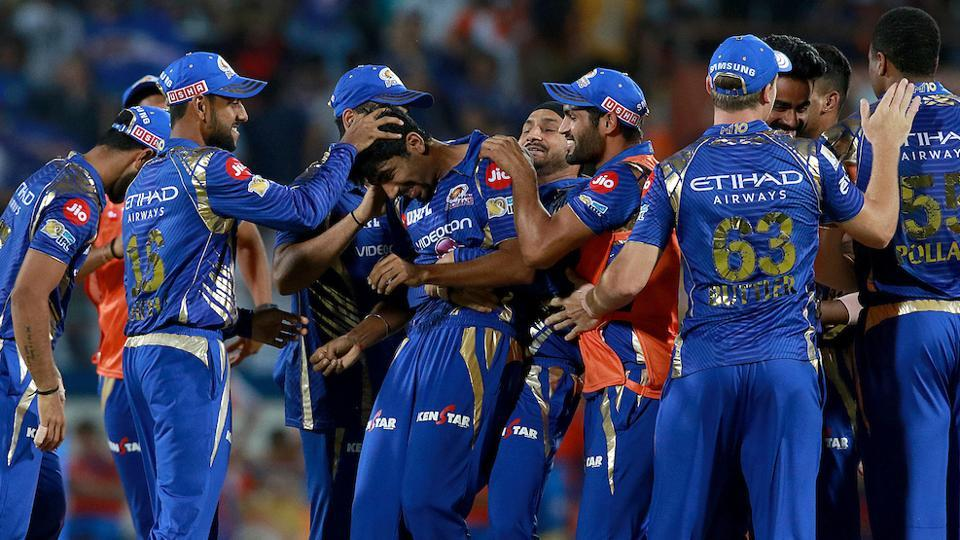 Jasprit Bumrah of Mumbai Indians celebrates with teammates after the win over Gujarat Lions in their IPL 2017 clash at the Saurashtra Cricket Association Stadium in Rajkot. Live streaming of the Gujarat Lions vs Mumbai Indians