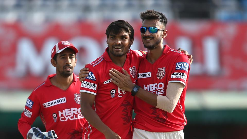 Sandeep Sharma of Kings XI Punjab is congratulated by Axar Patel of Kings XI Punjab during an Indian premier League (IPL) 2017 match.  Live streaming of the IPL 2017 match between Kings XI Punjab (KXIP) vs Delhi Daredevils (DD) was available online.
