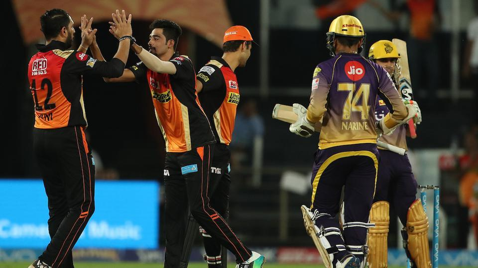 Mohammed Siraj celebrates the wicket of Sunil Narine during match 37 of 2017 Indian Premier League between Sunrisers Hyderabad and Kolkata Knight Riders at the Rajiv Gandhi International Cricket Stadium. Get full cricket score of Sunrisers Hyderabad vs Kolkata Knight Riders here