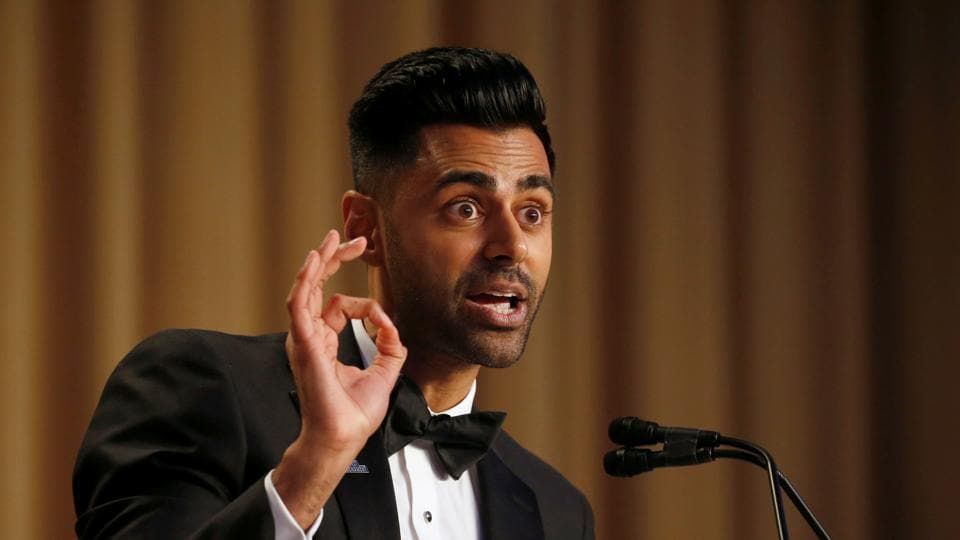 Hasan Minhaj of Comedy Central performs at the White House Correspondents' Association dinner in Washington on Saturday.
