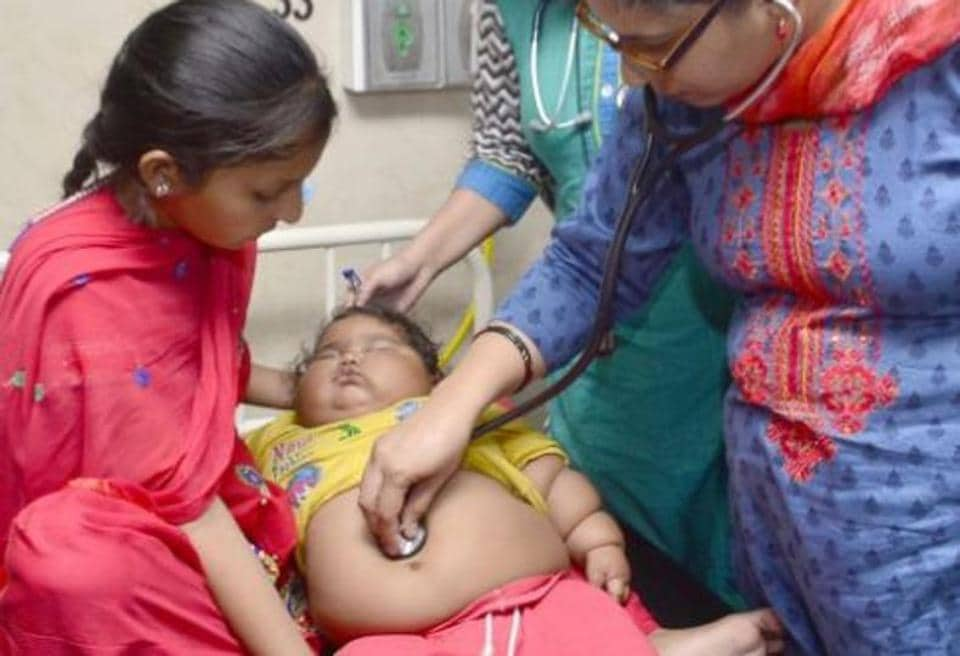 The baby Chahat has been in news for her morbid obesity. She weighed two kilograms at birth, slightly lower than normal for Indian babies.