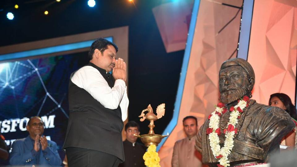 Chief minister Devendra Fadnavis at the 'Transform Maharashtra' conference at the National Sports Club of India in Worli on Monday.
