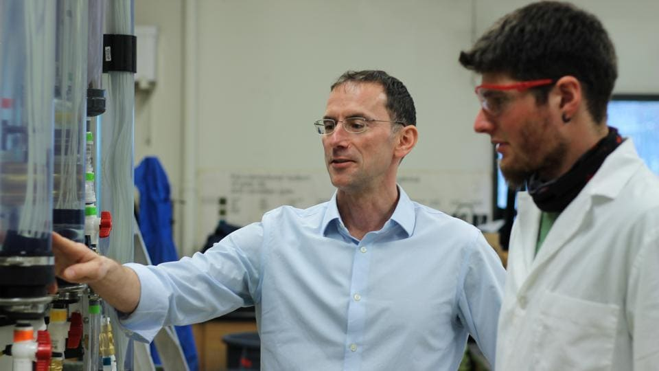 University of British Columbia professor Pierre Berube in his laboratory, where he has developed a new system of water filtration aimed at small and remote communities in Canada and India.
