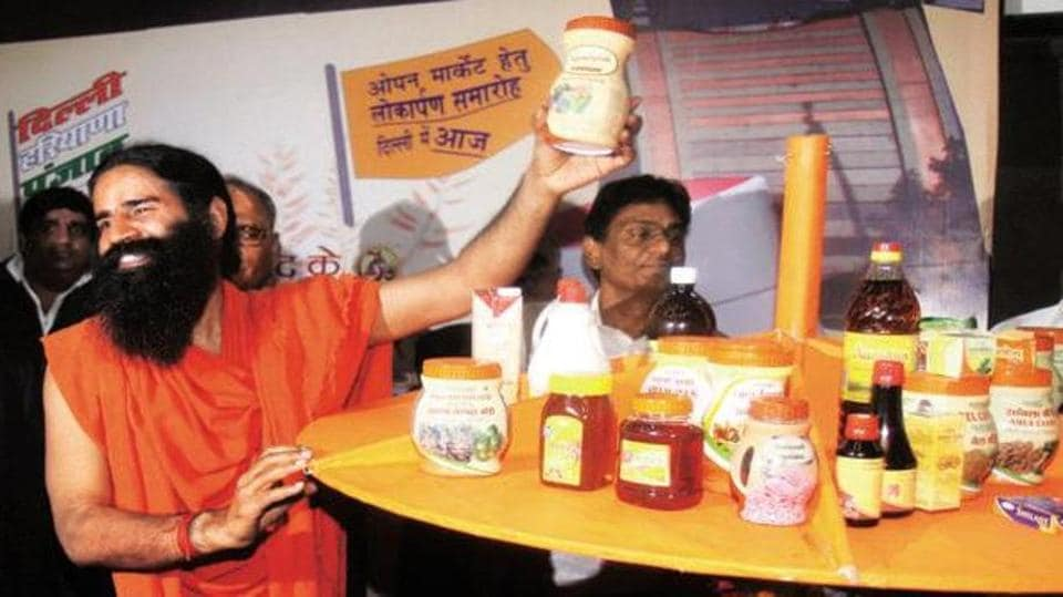 Ramdev at a product launch function.