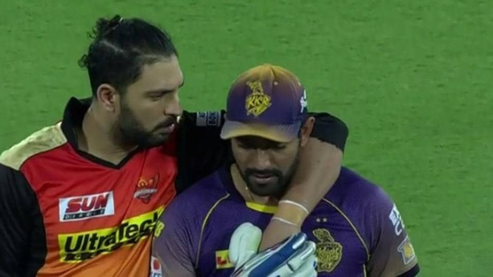 Yuvraj Singh had a word with Robin Uthappa after the batsman got into a clash with Siddarth Kaul in the 2017 Indian Premier League clash between Sunrisers Hyderabad and Kolkata Knight Riders.