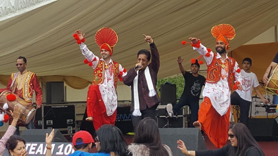 Popular Punjabi singer Channi Singh performing at the Baisakhi event in London on Sunday.