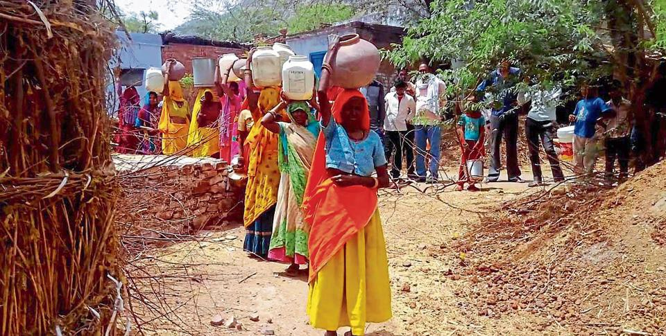 Women protest water shortage in Bharatpur on Monday.