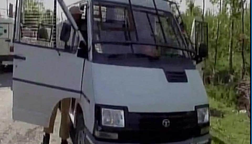 The cash van that was attacked by suspected militants in south Kashmir's Kulgam on Monday.