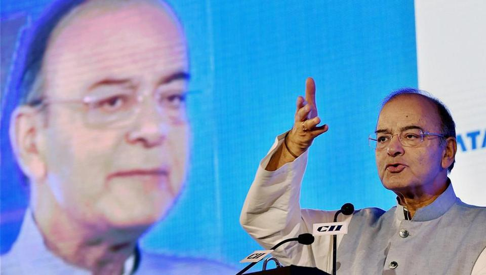 Union minister Arun Jaitley addresses an event in New Delhi.