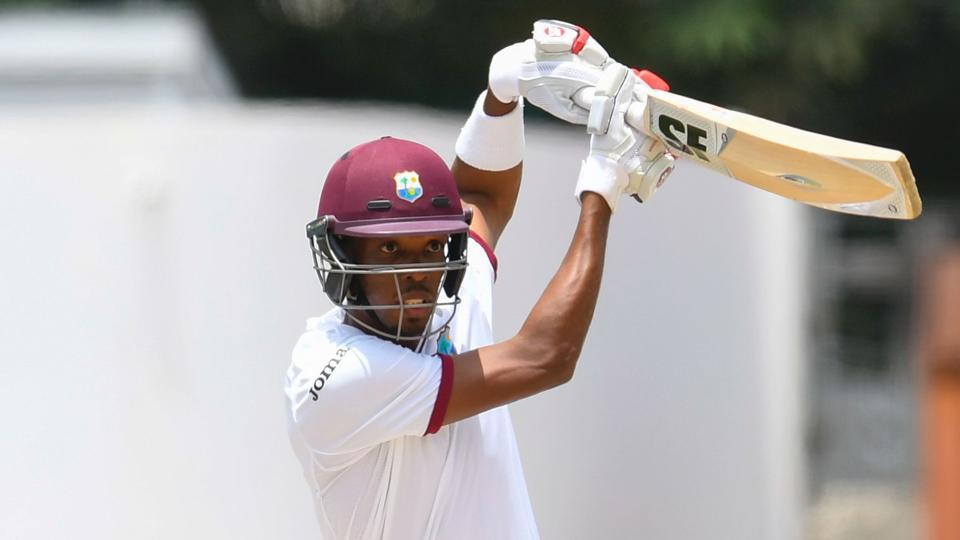 Roston Chase of the West Indies hits a boundary during Day 1 of the 2nd Test match between West Indies cricket team and Pakistan cricket team at Kensington Oval, Bridgetown, Barbados, on Sunday.