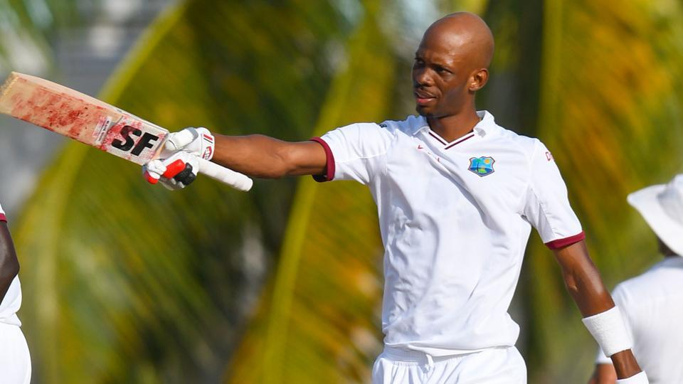 Roston Chase of the West Indies celebrates his century during the 1st day of the 2nd Test match between West Indies and Pakistan at Kensington Oval, Bridgetown, Barbados, on Sunday. Get cricket score of West Indies vs Pakistan, 2nd Test, Day 1 here