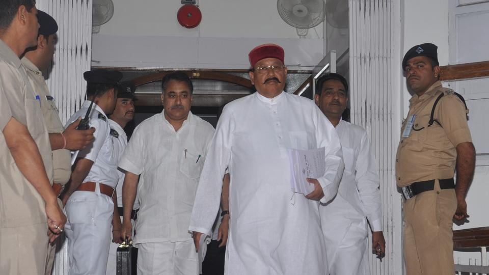 Cabinet minister Satpal Maharaj arrives at the assembly in Dehradun on Monday.