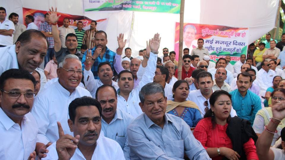 Former chief minister Harish Rawat at the Congress dharna to protest against the PDS foodgrain price rise in Dehradun on Monday.