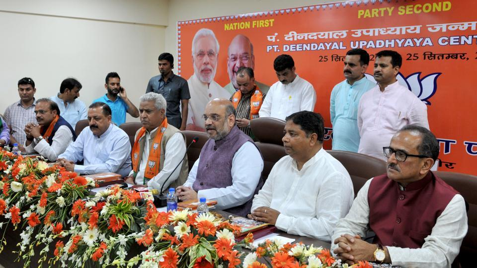 BJP national President Amit Shah at the inauguration of a party office in Jammu on Sunday.