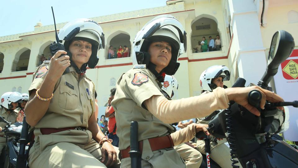 Armed with customized batons, first-aid kits, search lights, communication equipment and PCR vans, an all-woman unit of Jaipur Police will now patrol the Pink City on bikes to prevent crimes against women. (Himanshu Vyas / HT Photo)