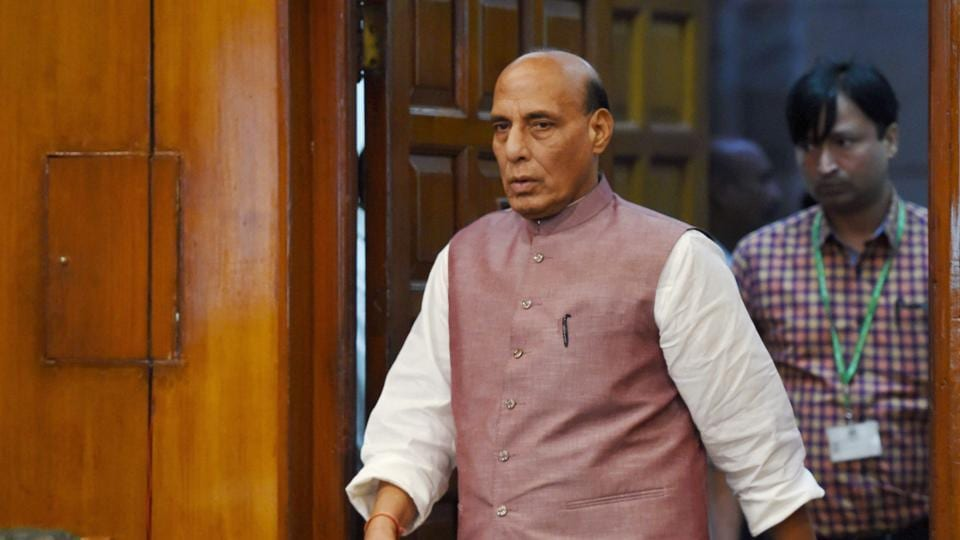Rajnath Singh arrives for a meeting at the North Block in New Delhi.