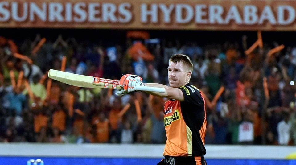 Sunrisers Hyderabad captain David Warner celebrates his century during their IPL 2017 match against Kolkata Knight Riders in Hyderabad on Sunday.