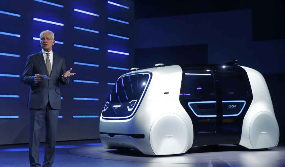 Volkswagen CEO Matthias Mueller presenting Sedric concept car during Volkswagen event at the Geneva Motor Show in March.