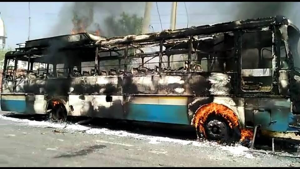 The Haryana Roadways bus torched by angry protesters after it crushed a Class­12 student in Achina Tal village of Charkhi Dadri district on Monday.