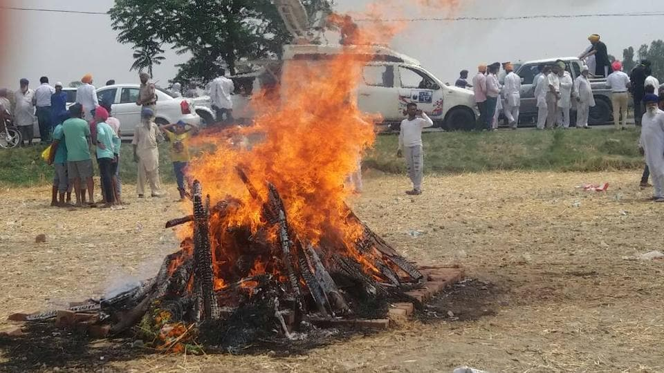 Paramjeet Singh's cremation at his village in Punjab.