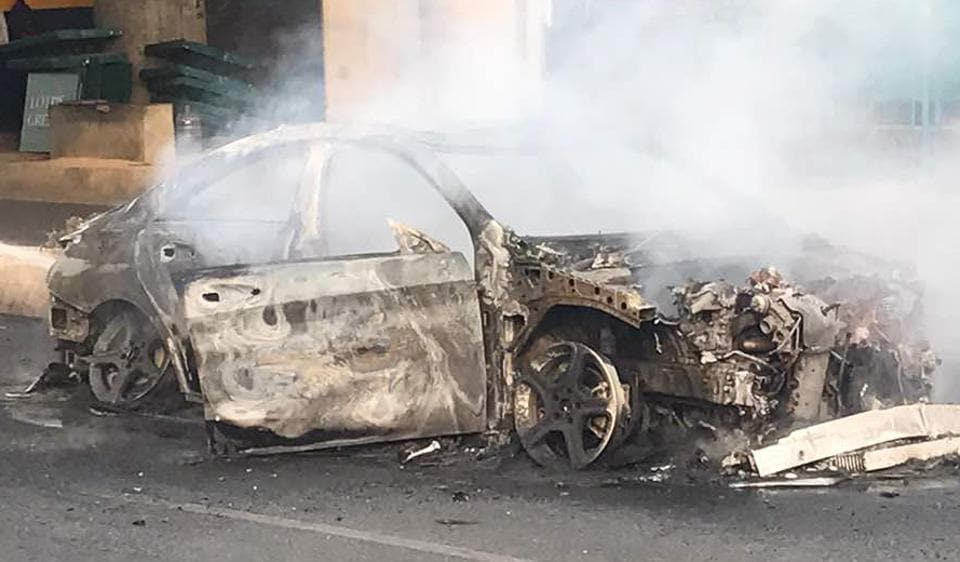 The Mercedes-Benz CLA-200 went up in flames at Sarai Kale Khan. Gagan Kalra, 20, had received the car as a present from his father five days ago.