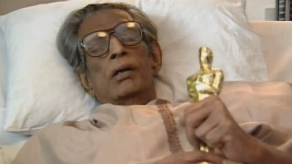 An unwell Ray, clutching the gold-plated Oscar statuette, gave his acceptance speech through a pre-recorded televised transmission, from his hospital bed in Kolkata (then Calcutta).