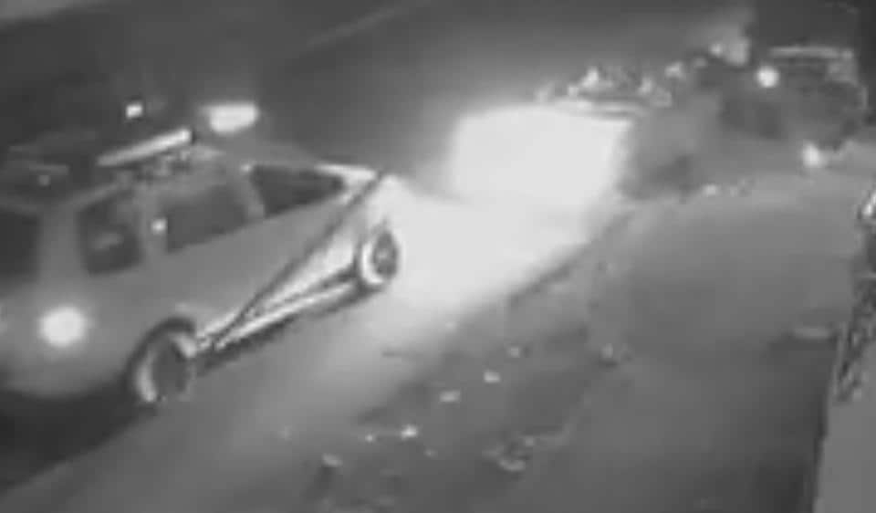 CCTVfootage shows a PCRvan (left) intercepts a car in which five burglars were trying to flee after a failed attempt at a Patanjali store.