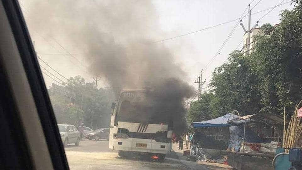 The bus on fire in Indirapuram that was carrying 17 students.